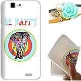 Rockconcept Huawei Ascend G7 Funda, Serie del Elefante Diseño [Con Gratis Tapón de Polvo] Protectiva Carcasa de Silicona Gel TPU Funda Cover Carcasa Case Cover para Huawei Ascend G7 (Happy Elefante)