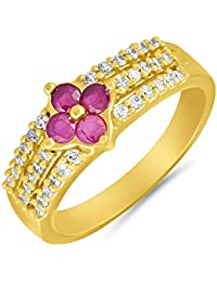 Valentine Gifts - Mahi Gold Plated Creative Melange Finger Ring With Ruby For Women FR1100646G