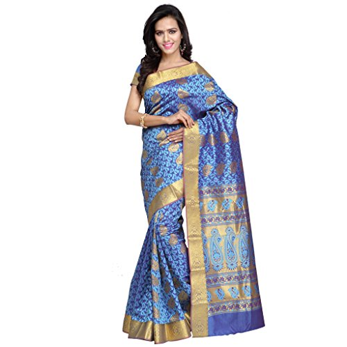 Varkala Silk Sarees Women's Art Silk Kanchipuram Saree With Blouse Piece(JB6101ADV_Turquoise Blue_Free Size)