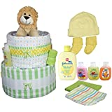 Sunshine Gift Baskets - Leo The Lion Diaper Cake Gift Set With A Plush Lion