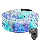 LE Cavo Tubo luminoso 10m 240 LED, Semi-Impermeabile trasparente Attacco spina elettrica Multicolore Luce magica Allegra per Balconi Terrazzi Interni Natale Capodanno Compleanno