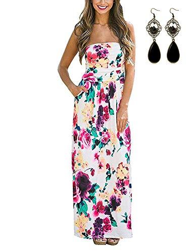 carinacoco Damen Bandeau Bustier Kleider mit Blüte Drucken Lange Sommerkleid Abendkleid Partykleid Cocktailkleid Geblümt M -