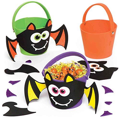 """Baker Ross Bastelset """"Eimerchen mit Fledermaus"""" für Kinder – perfekt für Bastelarbeiten und Dekorationen zu Halloween (3 Stück)"""