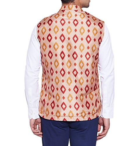 ShalinIndia Men Digitally Printed Faux Silk Nehru Collar Jacket 3 Front Pocket,M-DNJ40-1313,Cream,Size-40 Inch