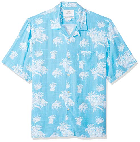 Washed Hawaiian 28 TreeUs Relaxed Xxxl Button ShirtsBluewhite Xxleu Fit Shirt Palms Palm 100Rayon Down 4xl Vintage m0v8nwN