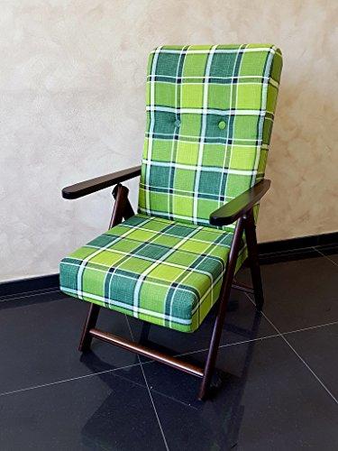 Poltrona sedia sdraio molisana (verde) in legno pieghevole cuscino imbottito soggiorno cucina salone divano