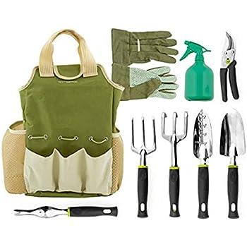 Vremi 9 piece garden tools set gardening tool kit with for Gardening tools kit set