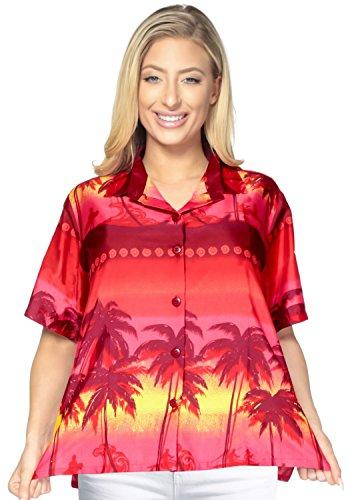 spiaggia hawaiana abito camicia maniche corte camicetta superiore coprire tasto gi� signore XXL