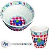 Spiegelburg Baby-Glück 3 tlg. Melamin-Set Babyschale 90192 Elefant + Babybecher 90066 Elefant + Babylöffel 90193 Elefant