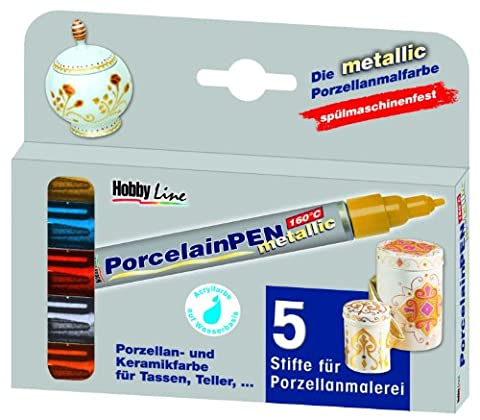 Hobby Line 16430 - Porcelain Pen metallic 5er Set
