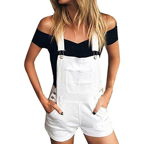 Ouneed- Shorts Damen Sommer, Damen Frauen Lose Denim Bib Loch Hosen Overalls Jeans Denim Shorts Overall (Weiß, S) -
