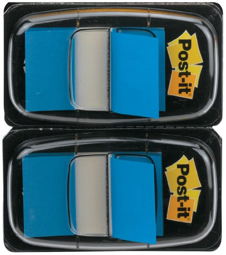 Post-it 680-B2EU - Marcapáginas (25,4 x 43,2 mm, 2 dispensadores), color azul