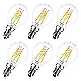 E14 LED Lampe P45, Tropfenform, 4W (ersetzt 40W), 2700K warmweiß, 6er-Pack, Filament Mini Globe, ultrahell 470 lm, Rustikalampe Filamentstil klar, nicht dimmbar - LVWIT