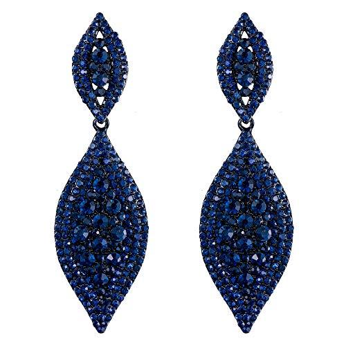 EVER FAITH Damen österreichische kristall hochzeit braut charme 2 blatt tropfen baumeln ohrringe blau schwarz-ton