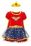 DC Comics Robe Wonder Woman avec Jupe en Tutu avec Etoiles avec Diadème et Manteau - Costume de Carnival Enfant - Fille - Rouge 4 Ans
