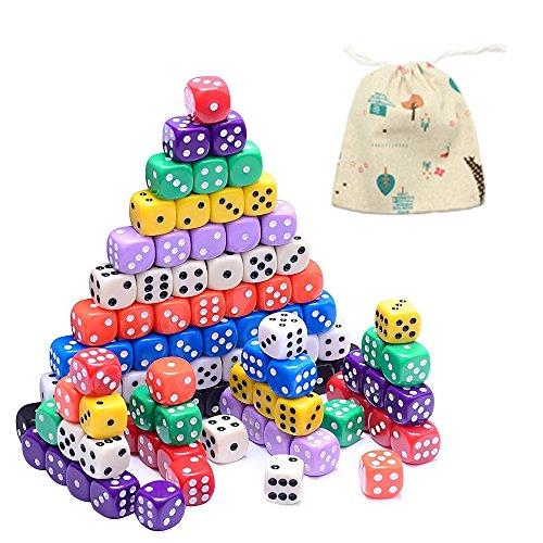 YoGou 100 Stück 6 Seitige Würfel Spielwürfel Set für Mathematiklernen Kasino Spiel Fest Geschenk mit Beutel Tischkartenspiele 10 Farben (Würfel Beutel Orange)