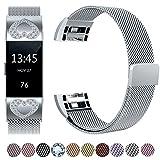 Für Fitbit Charge 2 Armband, HUMENN Luxus Milanese Edelstahl Handgelenk Ersatzband Smart Watch Armbänder mit Starkem Magnetverschluss für Fitbit Charge 2, Small Silber mit Diamant