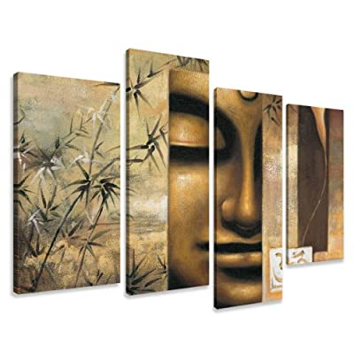 "Picture - art on canvas spa relax length 51"" height 31,5"", four-part parts model no. XXL 6157 Pictures completely framed on large frame. Art print Images realised as wall picture on real wooden framework. A canvas picture is much less expensive than an oi"