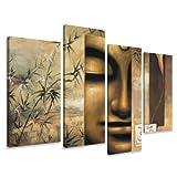 Visario Leinwandbilder 6157 Bild auf Leinwand Buddha, 130 x 80 cm, 4 Teile