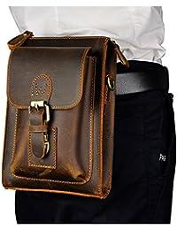 Le'Aokuu Mens Genuine Leather Coffee Fanny Small Messenger Shoulder Satchel Waist Bag Pack (The 6402 Dark Brown)