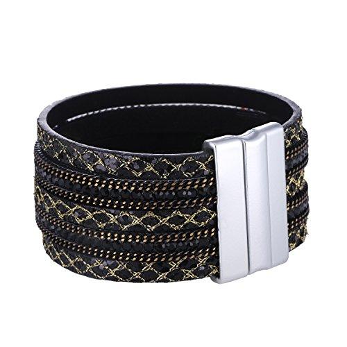 Morella Damen Armband verziert mit Zirkoniasteinen und Magnetverschluss schwarz