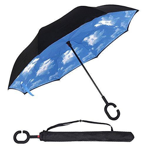 Ombrello con, ZOQI protezione UV antivento Inverso Doppio Strato invertito Ombrello, Automatic Reverse ombrello pieghevole, doppio strato mani libere parapioggia ombrello, a forma di C mani Maniglia (Blu)