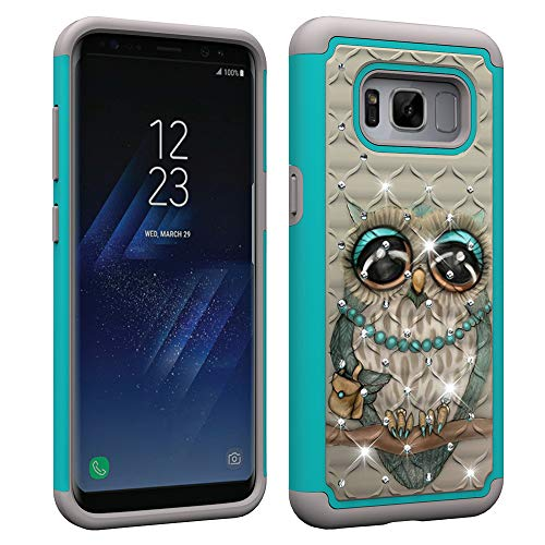 Slynmax Glitzer Hülle für iPhone 8 Plus/iPhone 7 Plus 2 in 1 Schicht Stand Soft Gel Glitzer Bling Diamant Silikon Cover + 1x Stylus Pen Peacock Flower -