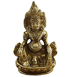 "Christmas Gift Idea Indian Wealth God Kuber Statue - Hindu God of Wealth and Prosperity - Brass Sculpture Figurine - 2.5"" x 1.5"" x 1"""