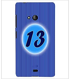 PrintDhaba Numerology Number 13 D-2569 Back Case Cover for MICROSOFT LUMIA 540 (Multi-Coloured)