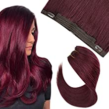 Hetto 14 Inch Real Hair Extensions 99J Red Wine One Piece Halo Hair Extensions 50 Grams Per Package Real Human Hair Invisible Wire on Hair Extensions Halo Hidden Crown Extension