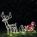 210 cm LED Rentier Schlitten mit Weihnachtsmann 432 warmweissen LEDs mit Funkel Effekt