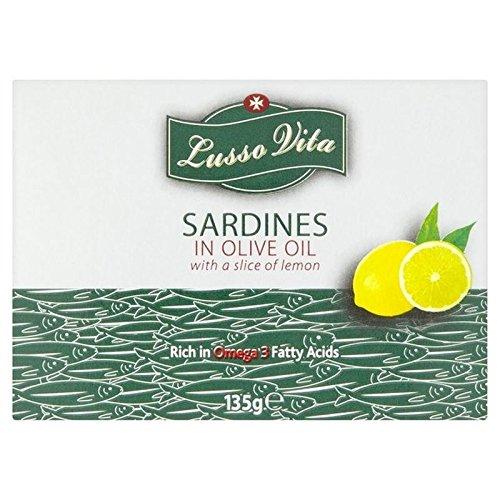 Lusso Vita Sardines À L'Huile D'Olive Avec 135G De Citron - Paquet de 6