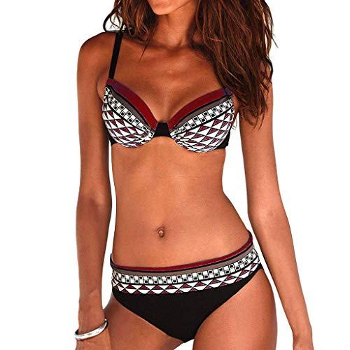 2dd01310372cd MRULIC Damen Reizvoller Zweiteilige Bikini Set Push Up Gepolstert Cups Mit  Bügel Bandeau Badeanzug Bademode Monokini