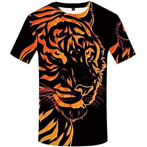 Fieber Schwarzes T-shirt (Realde Herren Oder Rundhals Kurzarm T-Shirt Oversize Farbe Loose 3D Tierdruck Oberteil Herbst und Winter Passt super auch zur Jeans Männer BequemTops Größe S-XXL)