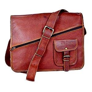Handgemachte Vintage Leder Aktentasche Umhängetasche mit Reißverschluss, Laptoptasche, Businesstasche, 11x15 Zoll, 100% echtes Leder mit Kostenlosem Versand, 2019 SALE- nur noch 2 TAGE