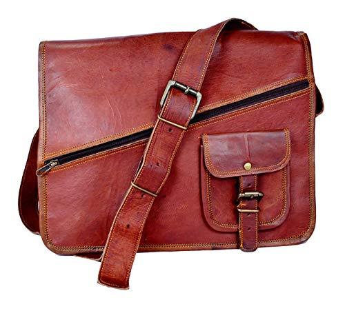 Handgemachte Vintage Leder Aktentasche Umhängetasche mit Reißverschluss, Laptoptasche, Businesstasche, 11x15 Zoll, 100% echtes Leder mit Kostenlosem Versand, 2019 SALE- nur noch 2 TAGE -