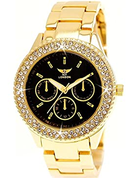 Elegante Ny London Damen-Uhr Strass Analog Quarz Armband-Uhr in Gold Schwarz Chronograph Optik Uhr