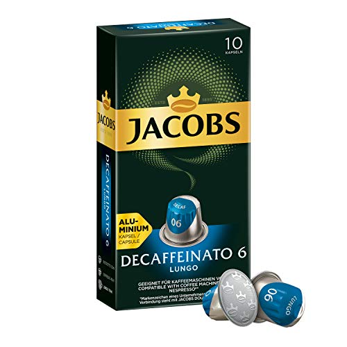 Jacobs Kaffeekapseln Lungo Decaffeinato, Intensität 6 von 12, 50 Nespresso®* kompatible Kapseln, 5 x 10 Getränke