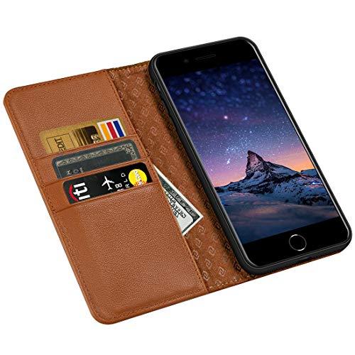 ZOVRE iPhone 6S/6 Plus Hülle Echt Leder Tasche für iPhone 6S/6 Plus(5.5 Zoll) Handyhülle im Bookstyle mit Magnet Kartenfächer Standfunktion - Braun
