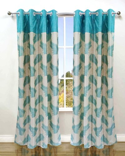 Homefab India's Set of 2 Stylish Aqua Blue Window Curtains (6X4ft.)