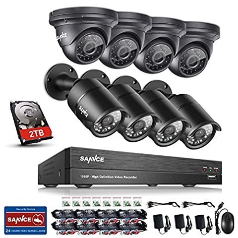 SANNCE 8CH 1080P 5-in-1 AHD/TVI/CVI/CVBS/IP DVR Recorder w/ 2.0MP 4 Dome+4 Bullet CCTV Camera Surveillance System, 2TB Surveillance Hard Drive