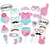 25pcs Baby Shower Photo Props Biberón Máscaras Photo Booth Props recién nacido Lady Girl Party Decorations