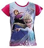 Frozen - Die Eiskönigin Kollektion 2016 T-Shirt 98 104 110 116 122 128 134 Mädchen Disney Shirt Anna und ELSA Rosa (122-128, Rosa)