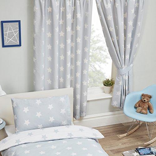 2 tende grigie con stelle bianche per la cameretta dei bambini (168 x 137 cm)