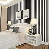 Papel pintado a rayas de Mediterráneo Oriental/Simple no tejido papel pintado en blanco y negro/ fondo de pantalla de sala de dormitorio/fondo de pantalla de TV telón de fondo-I