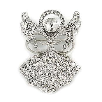 Avalaya Clear Crystal Angel Brooch In Rhodium Plating - 45mm L 2