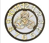 HUIJU Wanduhren im Europäischen Stil seitig Mute Wanduhr Art Wohnzimmer Bügeleisen und Uhren Persönlichkeit kreativ Uhr Taschenuhr Quarzuhr