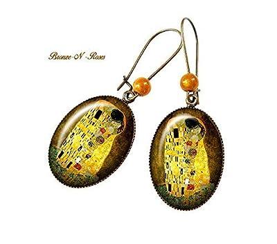Boucles d'oreilles * Le baiser * Gustav Klimt peinture retro vintage tableau reproduction