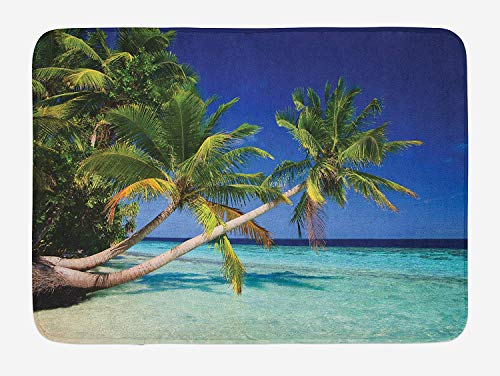 BUZRL Ocean Bath Mat, Maldives Bay Paradise Resort Summer in Pacific Holiday Destinations, Plush Bathroom Decor Mat with Non Slip Backing, 23.6 W X 15.7 W Inches, Navy Blue Turquoise Green -