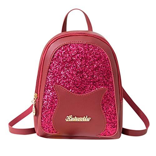 XZDCDJ Schulrucksack Mädchen Schultaschen Rucksack Schultasche Daypacks für Damen Art- und kleinen Weisedame Shoulders Small Backpack Letter Cute Purse Rosa